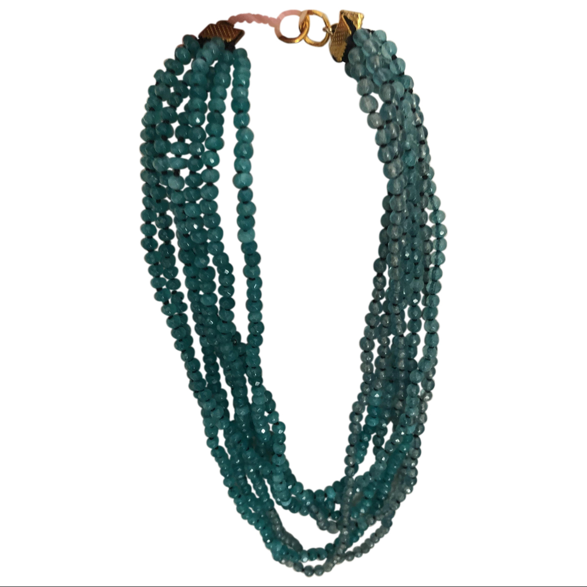 - Collier Agate pour femme en perles - turquoise