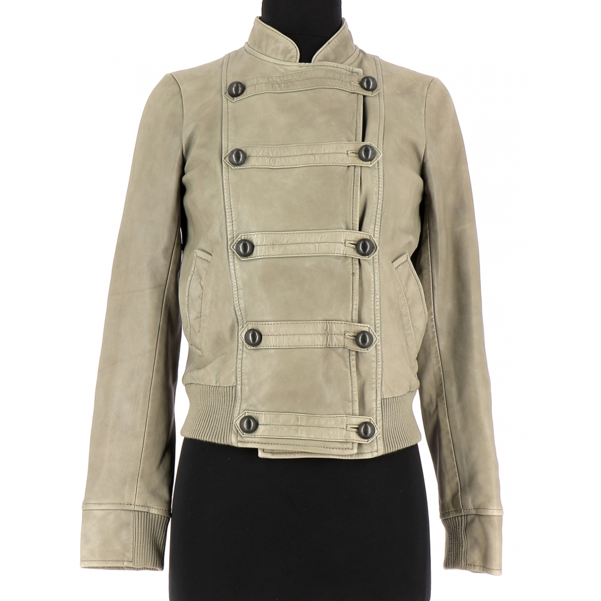 Comptoir Des Cotonniers \N Grey Leather Leather jacket for Women 34 FR