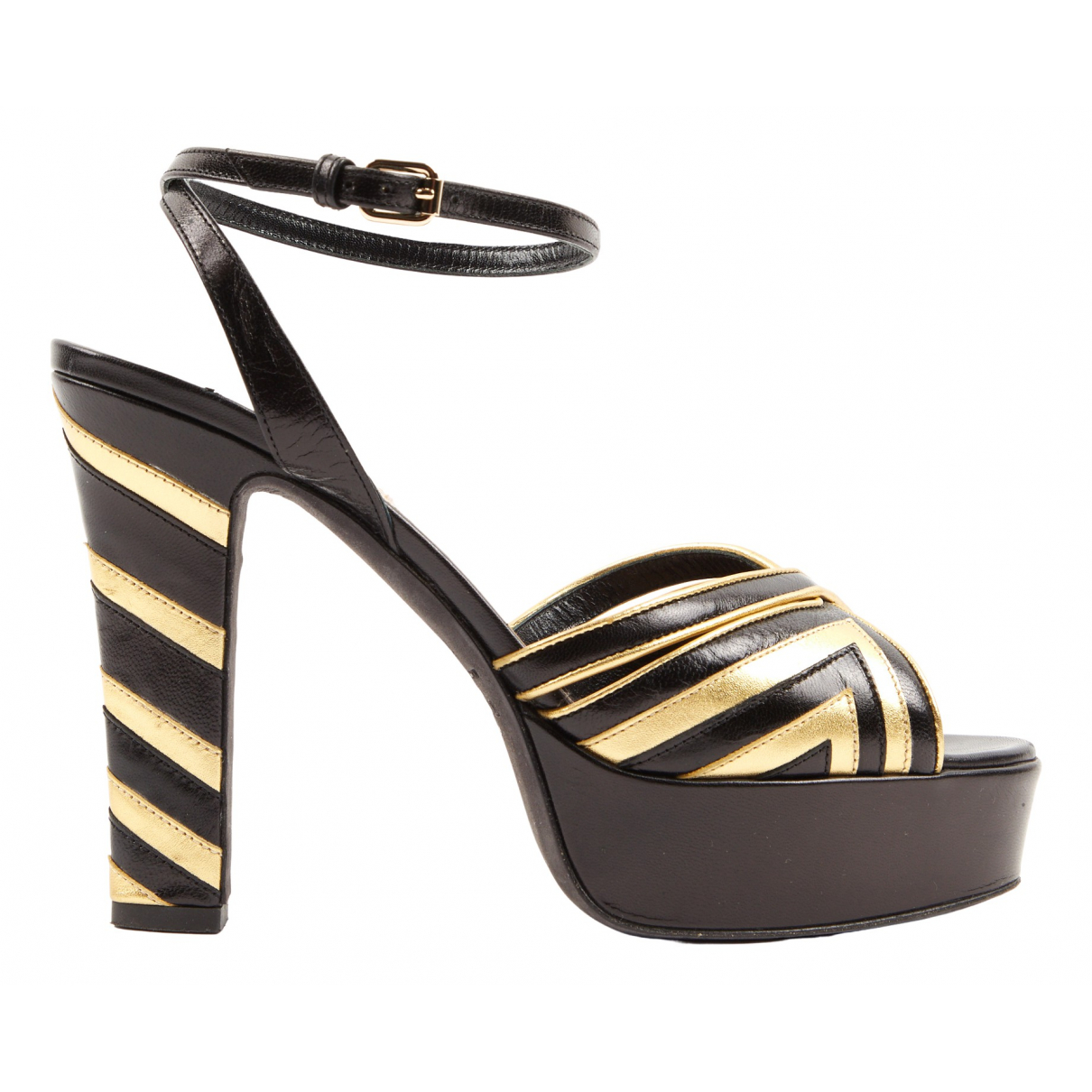Valentino Garavani N Black Leather Sandals for Women 37.5 IT