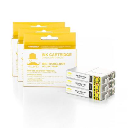 Compatible Epson T220XL420 - 220XL cartouche d'encre jaune haute capacite - Moustache - 3/paquet