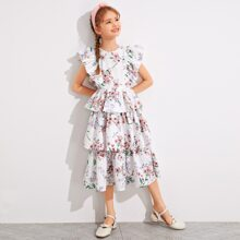 Girls Ruffle Armhole Layered Hem Floral Dress