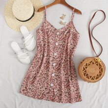 Vestido floral de margarita con botones delanteros