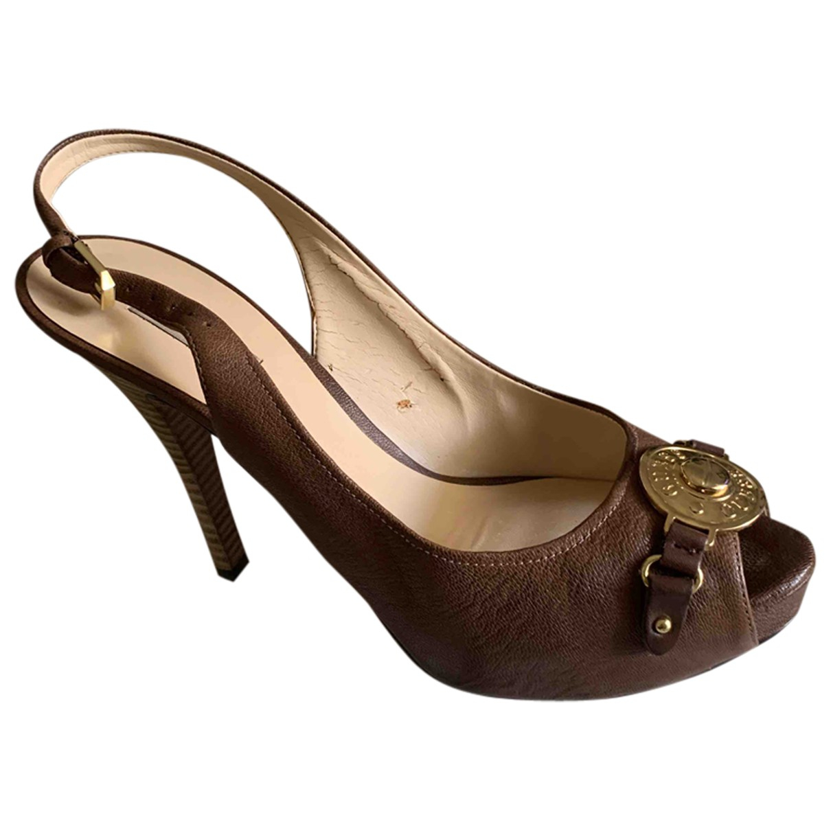 Guess N Brown Leather Heels for Women 40 EU