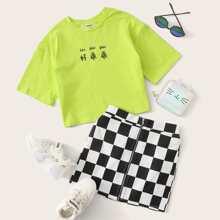 Maedchen Neon Lime Top mit Buchstaben Grafik & Rock mit Reissverschluss und Karo Muster