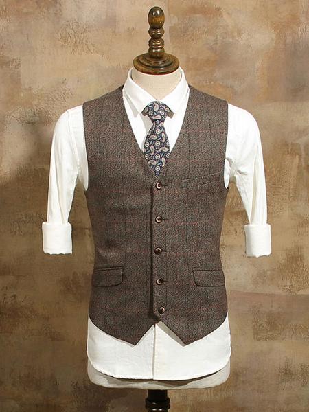 Milanoo Brown Vintage Waistcoat Plaid Pocket Aristocrat Style Cotton Retro Costumes For Man Halloween