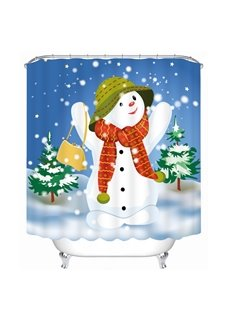 Cheerful Snowman with Red Scarf Printing Bathroom 3D Shower Curtain