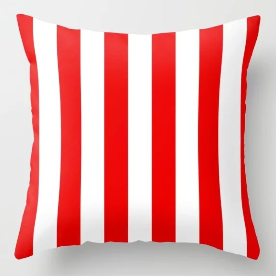 LW lovely Cosy Striped Red Decorative Pillow Case