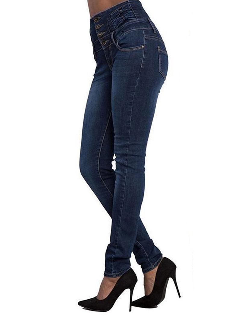 Ericdress High-Waist Button Jeans