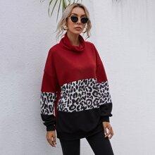 Sweatshirt mit Stehkragen, Leopard Muster, Farbblock und sehr tief angesetzter Schulterpartie