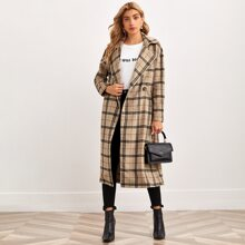 Plaid Lapel Collar Double Button Belted Overcoat