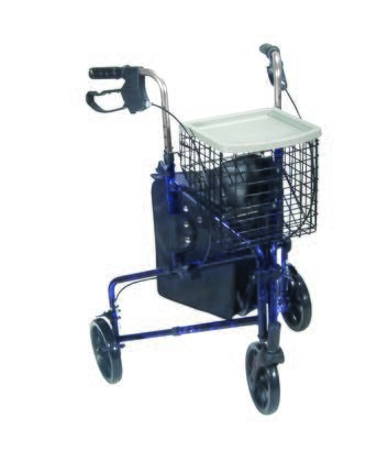 10289bl 3 Wheel Walker Rollator With Basket Tray And Pouch  Flame
