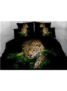 Vivilinen 3D African Leopard Walking Through Jungle 4-Piece Bedding Sets/Duvet Covers
