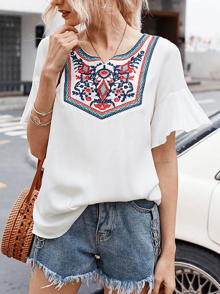 Milanoo Blusa Boho Blusas de manga corta bordadas con cuello joya de algodon blanco