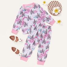 Baby Girl Tie Dye Cartoon Graphic Tee & Sweatpants