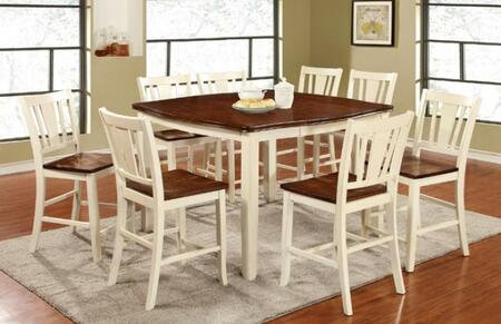Dover II Collection CM3326WCPT8PC 9-Piece Dining Room Set with Square Counter Height Table and 8 Counter Height Side Chairs in Vintage