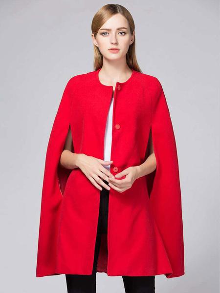Milanoo Women Red Poncho Button Woolen Cape Winter Coat
