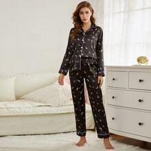 Satin Schlafanzug Set mit Mond Muster und Kontrast Bindung