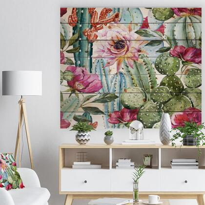 WD7856-46-36 Cactus Pattern Watercolor - Floral Art Print On Natural Pine Wood -