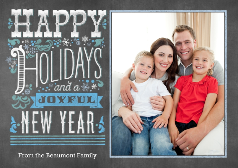 Holiday Photo Cards 5x7 Cards, Premium Cardstock 120lb with Elegant Corners, Card & Stationery -Happy Holidays and Joyful New Year