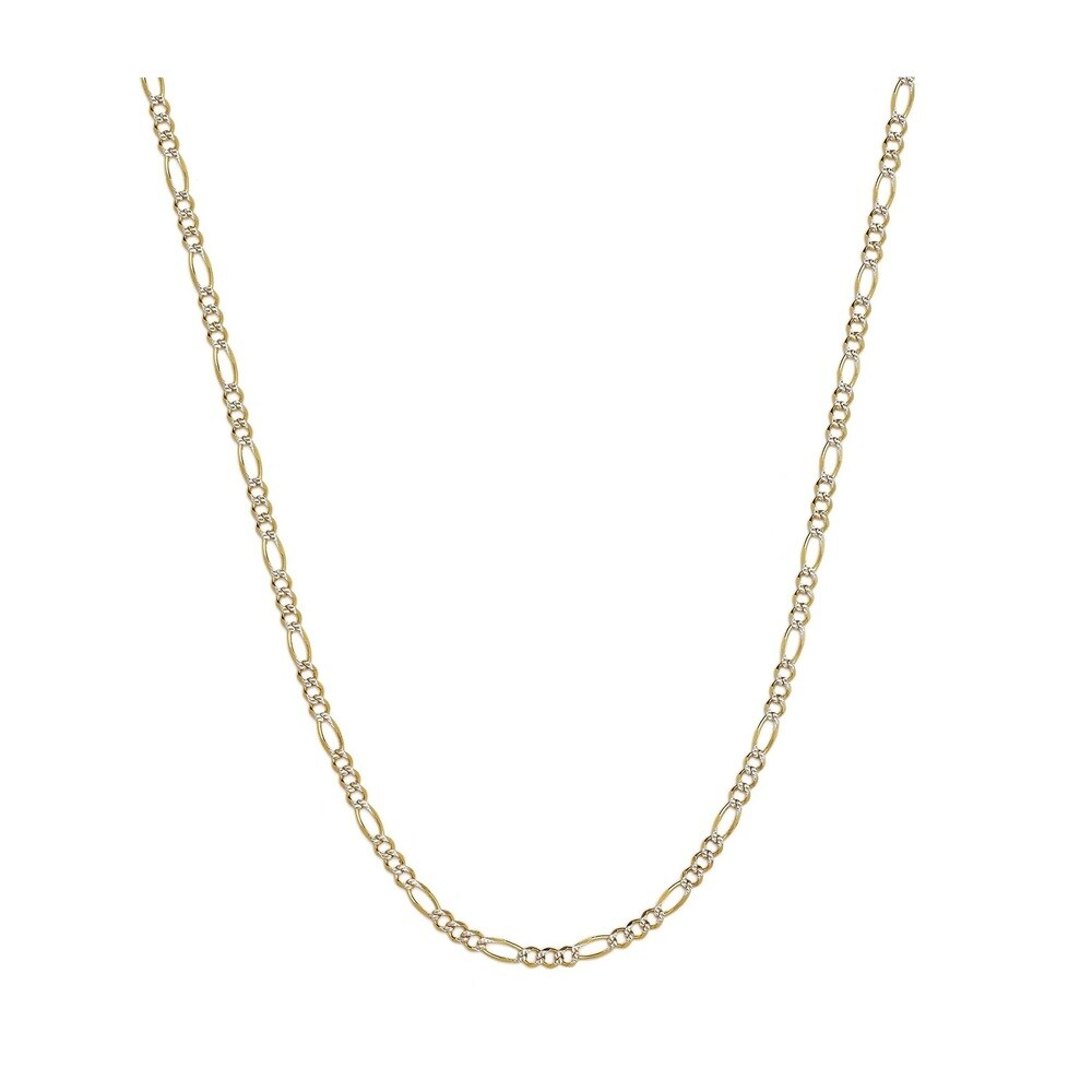 Pori Jewelers 925 Sterling Silver Super Light High Polished  6 MM Figaro White Pave Two Toned 160 Chain Necklace (30 Inch)