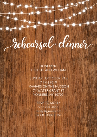 Rehearsal Dinner Invites 5x7 Cards, Premium Cardstock 120lb with Rounded Corners, Card & Stationery -Wedding Rehersal Rustic Lights by Tumbalina