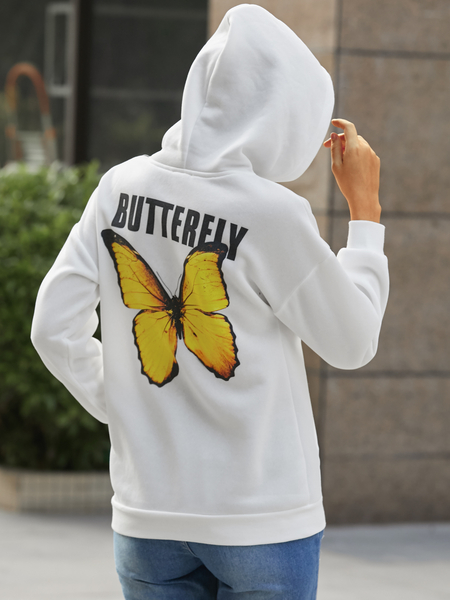 YOINS Butterfly Letter Pocket Drawstring Long Sleeves Hoodie