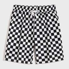 Men Drawstring Waist Checked Shorts