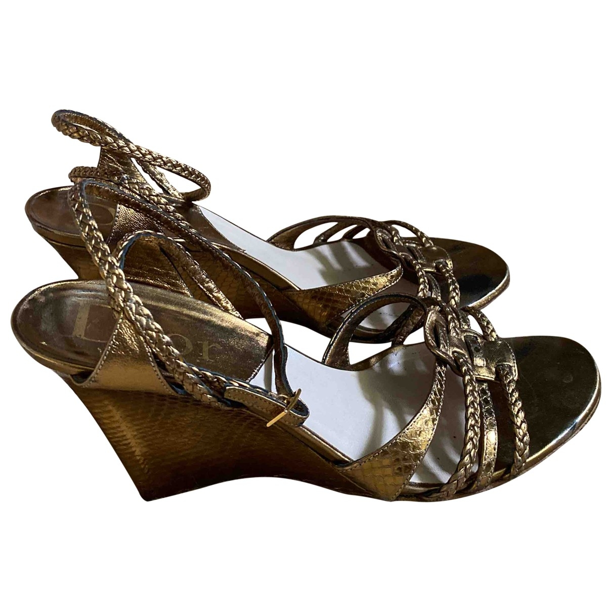 Dior \N Gold Leather Sandals for Women 40 EU