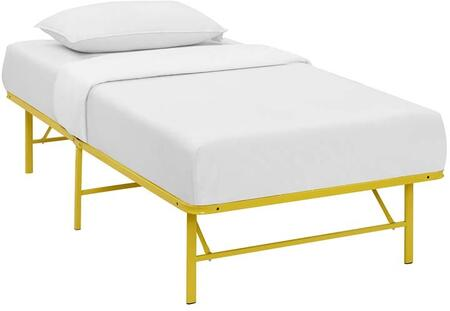 Horizon Collection MOD-5427-YLW Twin Size Platform Bed Frame with Non-Marking Foot Caps  Modern Style and Heavy Duty Stainless Steel Frame