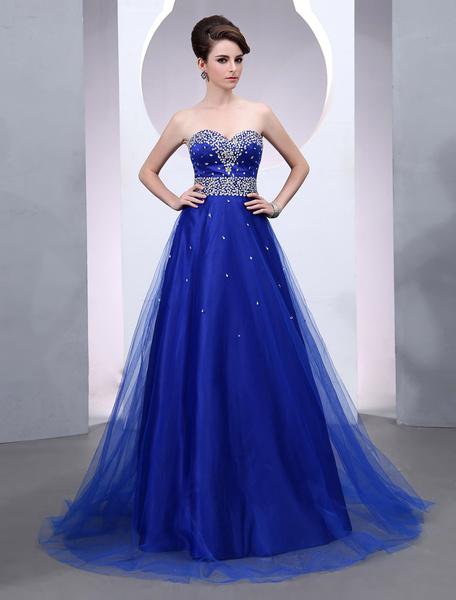 Milanoo Vestido de noche de tul de color azul real sin mangas con escote de corazon