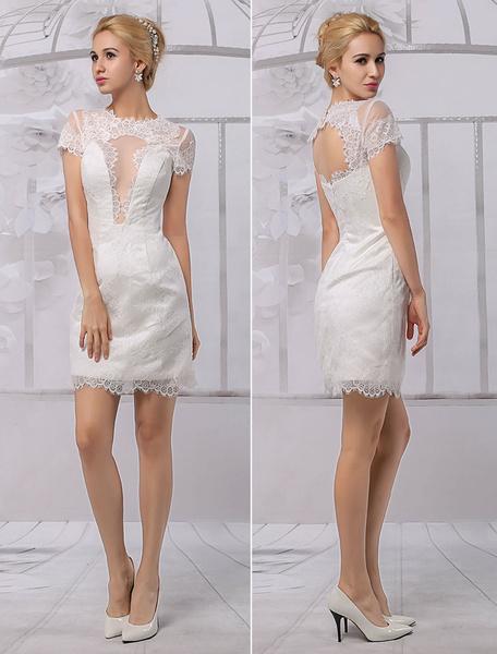 Milanoo Vestido de novia de encaje con escote redondo