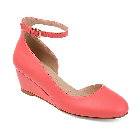 Journee Collection Womens Seely Pumps Buckle Round Toe Wedge Heel, 8 Medium, Pink
