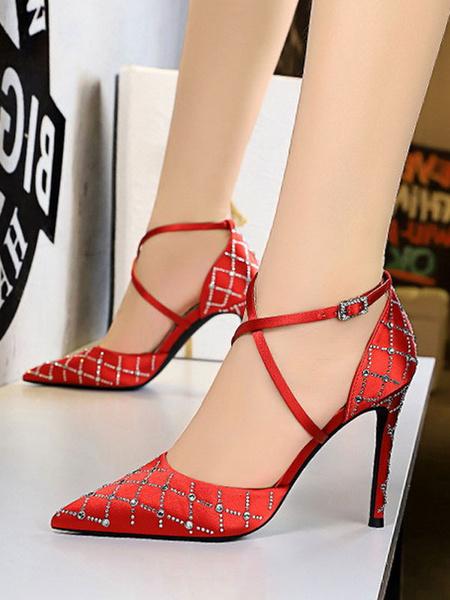 Milanoo Women's High Heels Strap Adjustable Pointed Toe Stiletto Heel Rhinestones Sexy Black Pumps