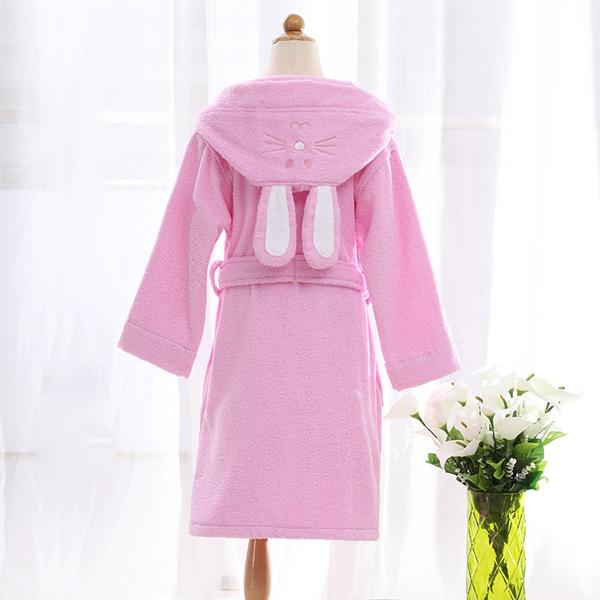 Lovely Rabbit Hooded Thicken Cotton Kids Robe
