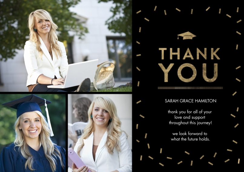 Graduation Thank You Cards 5x7 Cards, Premium Cardstock 120lb, Card & Stationery -Grad Thank You Gold Sprinkles by Tumbalina