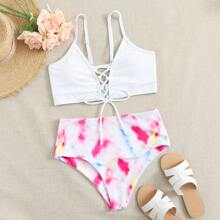Tie Dye Lace-up Front High Waisted Bikini Swimsuit