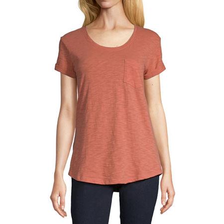 a.n.a-Womens Round Neck Short Sleeve T-Shirt, X-small , Orange