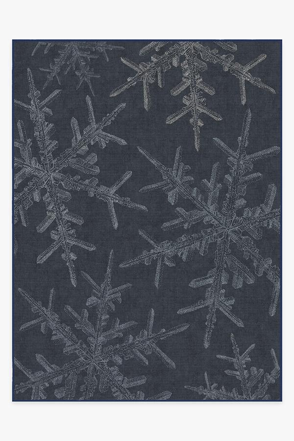 Washable Rug Cover | Snowflake Navy Rug | Stain-Resistant | Ruggable | 9'x12'