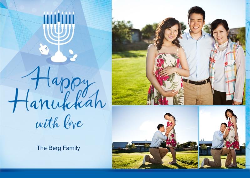 Hanukkah Photo Cards 5x7 Cards, Premium Cardstock 120lb with Elegant Corners, Card & Stationery -Happy Hanukah with Love Menorah