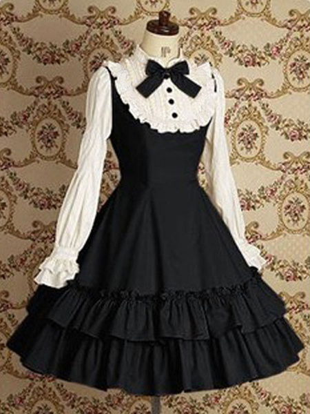 Milanoo Classic Lolita OP Dress Bows Apricot Long Sleeves Lolita One Piece Dresses