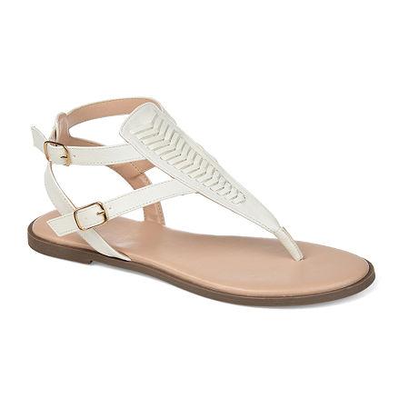 Journee Collection Womens Harmony Flat Sandals, 6 1/2 Medium, White