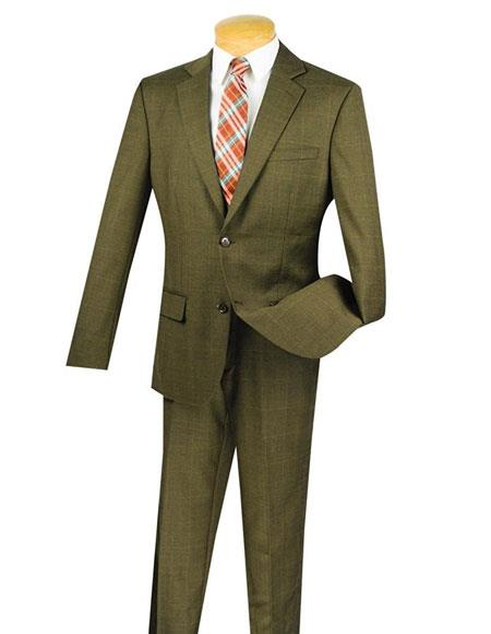 Fortini 1Wool 2Button Window Pane Plaid SlimFit Suit Side Vented Taupe