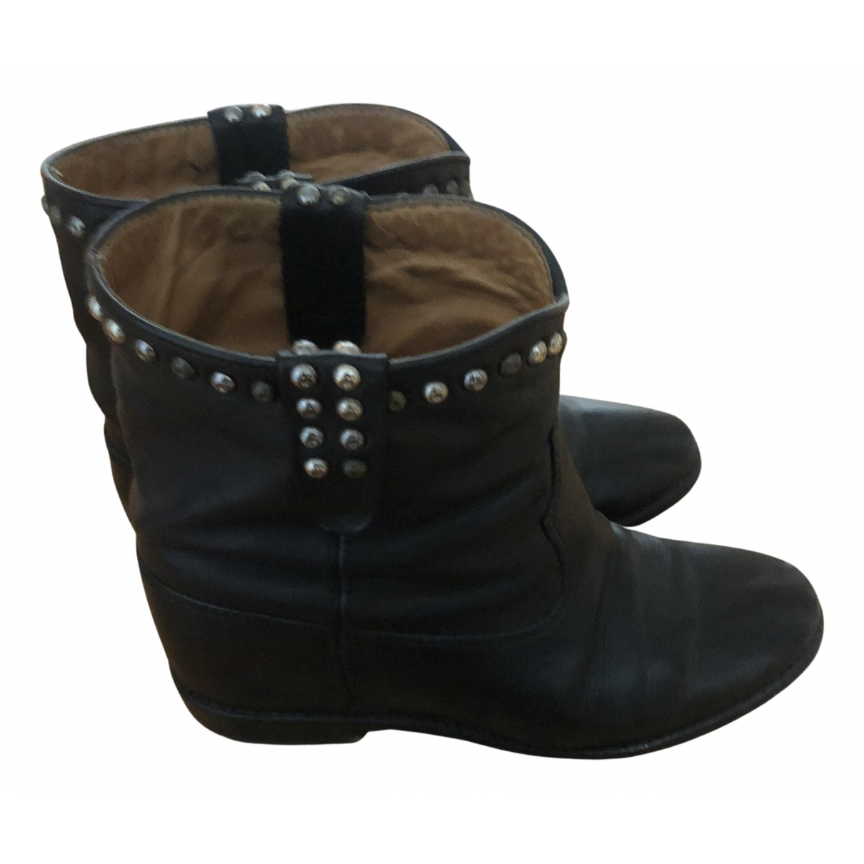 Isabel Marant Cluster Black Leather Ankle boots for Women 37 EU