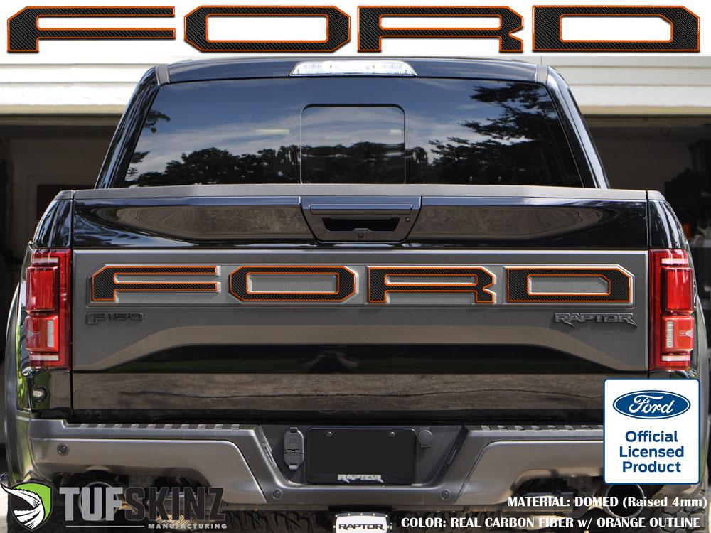 Tufskinz FRD006-DCF-033-G Tailgate Overlay Fits 15-18 Ford Raptor 4 Piece Kit Domed Carbon Fiber w/Orange Outline