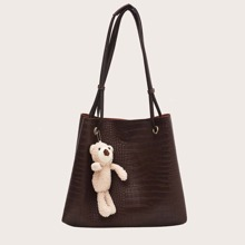Croc Embossed Tote Bag With Bag Charm