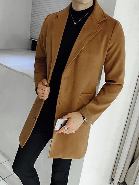 Milanoo Men Camel Coat Turndown Collar Long Sleeve Peacoat Front Button Long Coat