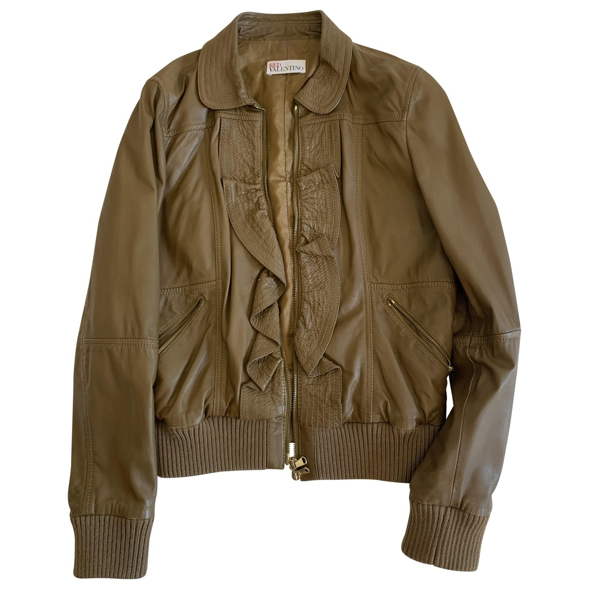Red Valentino Garavani \N Brown Leather Leather jacket for Women 44 IT