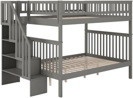 Woodland Collection AB56809 Full Over Full Size Staircase Bunk Bed with Lead-Free  Slat Design  Bookshelf  Guardrails  Modern Style and Solid Post