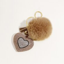 Rhinestone Heart Charm Keychain