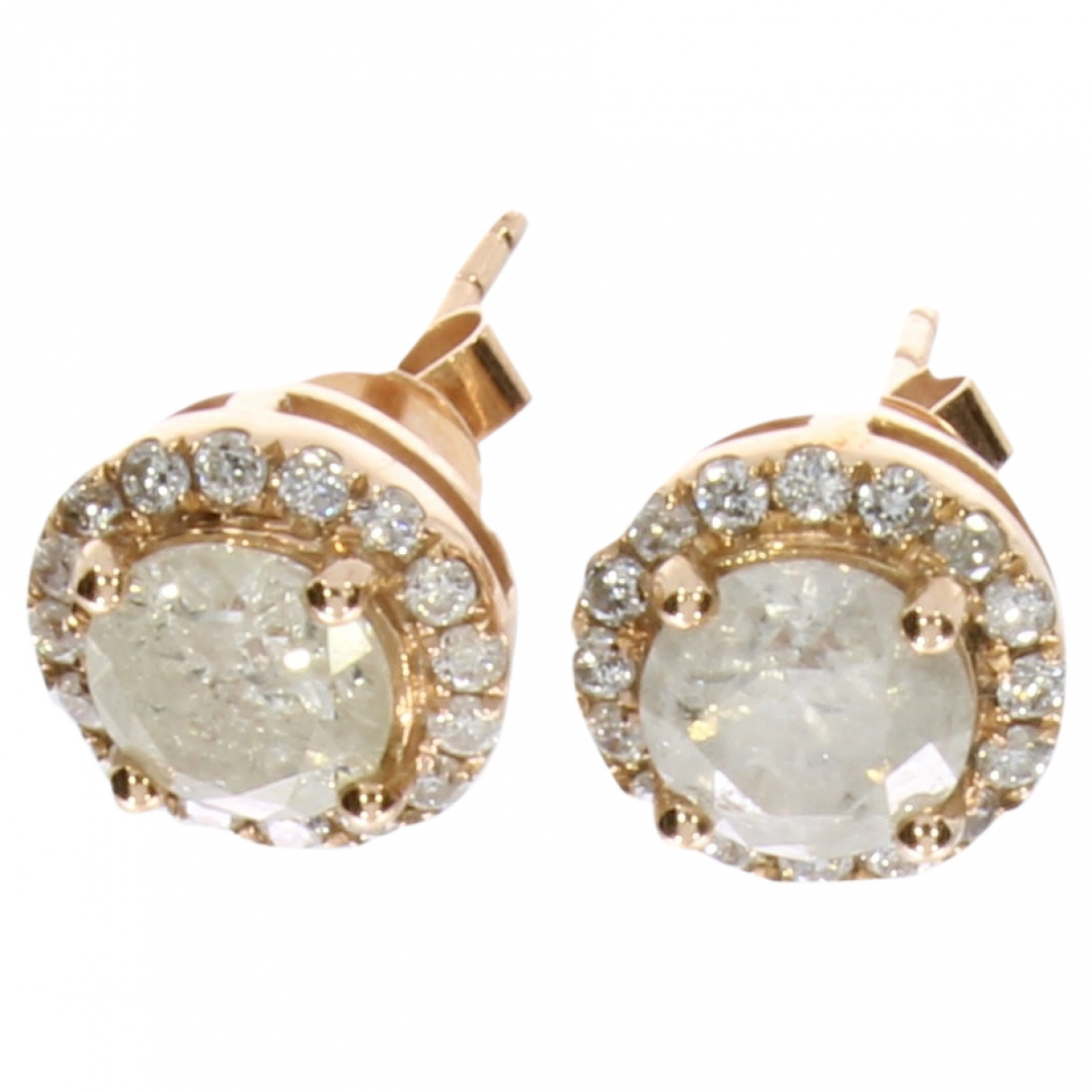 Non Signé / Unsigned Puces en diamants Pink Pink gold Earrings for Women \N